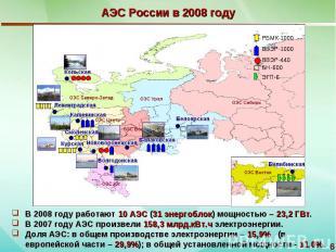АЭС России в 2008 году В 2008 году работают 10 АЭС (31 энергоблок) мощностью – 2