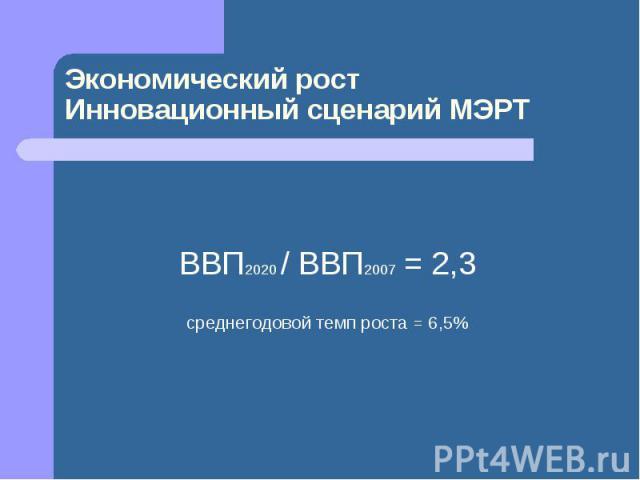 Экономический ростИнновационный сценарий МЭРТ ВВП2020 / ВВП2007 = 2,3среднегодовой темп роста = 6,5%