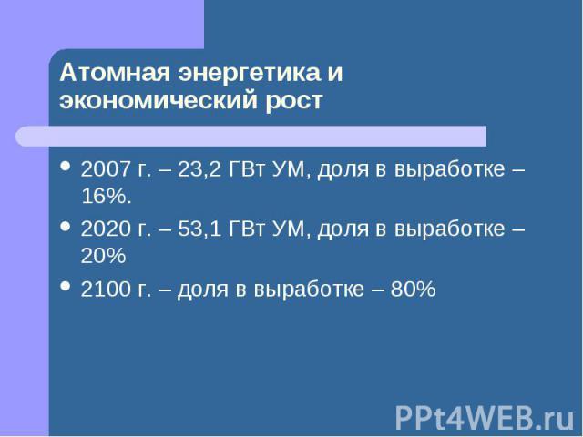 Атомная энергетика иэкономический рост 2007 г. – 23,2 ГВт УМ, доля в выработке – 16%.2020 г. – 53,1 ГВт УМ, доля в выработке – 20%2100 г. – доля в выработке – 80%
