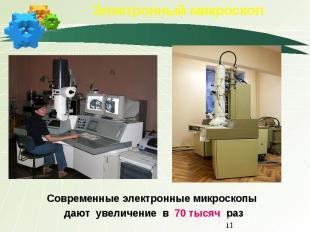 Электронный микроскоп Современные электронные микроскопы дают увеличение в 70 ты