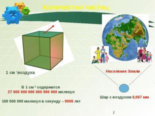Количество частиц В 1 см 3 содержится 27 000 000 000 000 000 000 молекул100 000