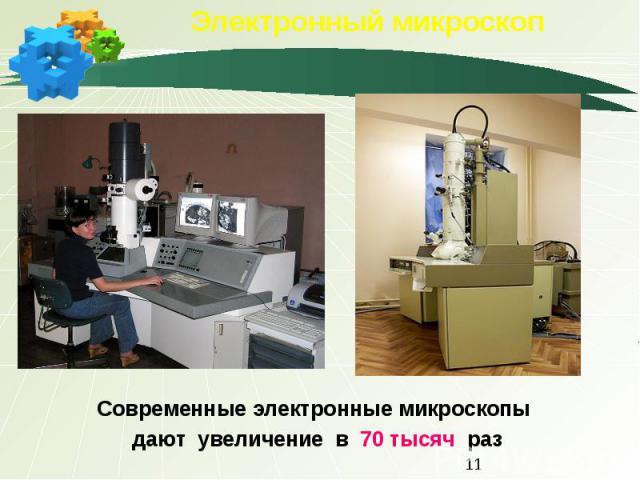 Электронный микроскоп Современные электронные микроскопы дают увеличение в 70 тысяч раз