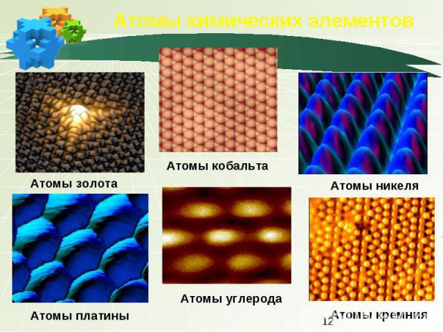 Атомы химических элементов Атомы золотаАтомы кобальтаАтомы никеляАтомы платиныАтомы углеродаАтомы кремния