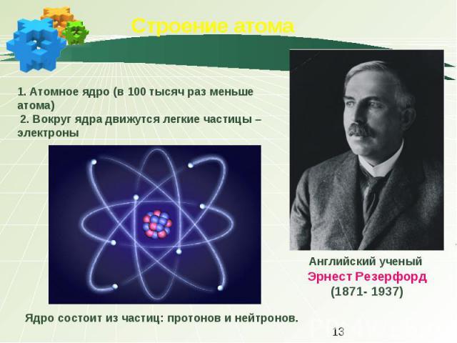 Строение атома 1. Атомное ядро (в 100 тысяч раз меньше атома) 2. Вокруг ядра движутся легкие частицы – электроныАнглийский ученый Эрнест Резерфорд(1871- 1937)Ядро состоит из частиц: протонов и нейтронов.