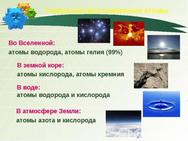 Самые распространенные атомы Во Вселенной: атомы водорода, атомы гелия (99%) В земной коре:атомы кислорода, атомы кремнияВ воде:атомы водорода и кислородаВ атмосфере Земли:атомы азота и кислорода