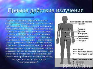 Прямое действие излучения Одним из прямых эффектов является канцерогенез или раз