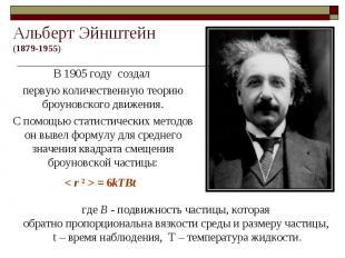 Альберт Эйнштейн(1879-1955) В 1905 году создал первую количественную теорию броу