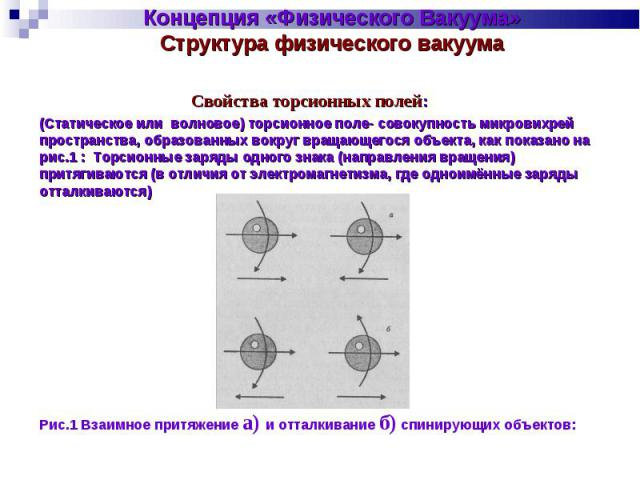 Концепция «Физического Вакуума» Структура физического вакуума Свойства торсионных полей:(Статическое или волновое) торсионное поле- совокупность микровихрей пространства, образованных вокруг вращающегося объекта, как показано на рис.1 : Торсионные з…