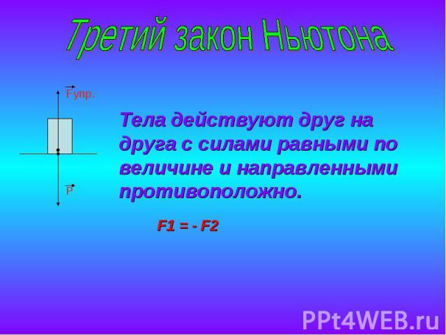Третий закон НьютонаТела действуют друг на друга с силами равными по величине и направленными противоположно.