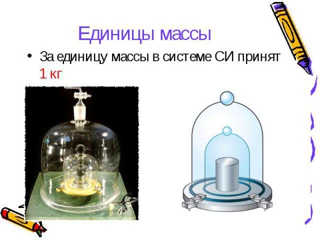 Единицы массы За единицу массы в системе СИ принят 1 кг