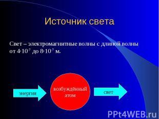 Источник света Свет – электромагнитные волны с длиной волны от 4·10-7 до 8·10-7