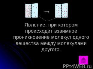 Явление, при котором происходит взаимное проникновение молекул одного вещества м