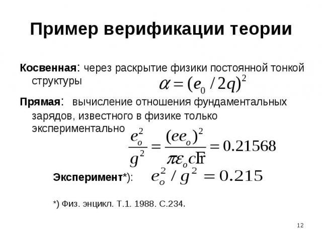Пример верификации теории Косвенная: через раскрытие физики постоянной тонкой структурыПрямая: вычисление отношения фундаментальных зарядов, известного в физике только экспериментально