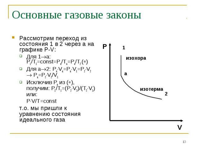 Основные газовые законы Рассмотрим переход из состояния 1 в 2 через а на графике P-V:Для 1а: P1/T1=const=Pa/Ta=Pa/T2 ()Для а2: PaVa=PaV1=P2V2 Pa=P2V2/V1Исключив Ра из (), получим: P1/T1=(P2V2)/(T2V1) или:PV/T=constт.о. мы пришли к уравнению состояни…