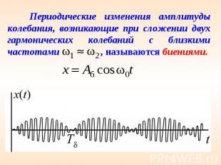 Периодические изменения амплитуды колебания, возникающие при сложении двух гармо