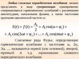 Любые сложные периодические колебания можно представить в виде суперпозиции одно