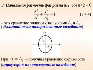 3. Начальная разность фаз равна π/2. – это уравнение эллипса с полуосями А1 и А2