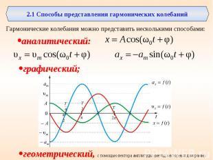 2.1 Способы представления гармонических колебанийГармонические колебания можно п
