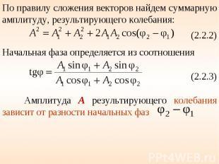 По правилу сложения векторов найдем суммарную амплитуду, результирующего колебан