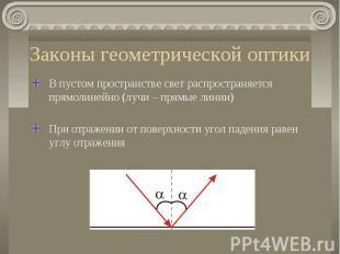 Законы геометрической оптики В пустом пространстве свет распространяется прямоли