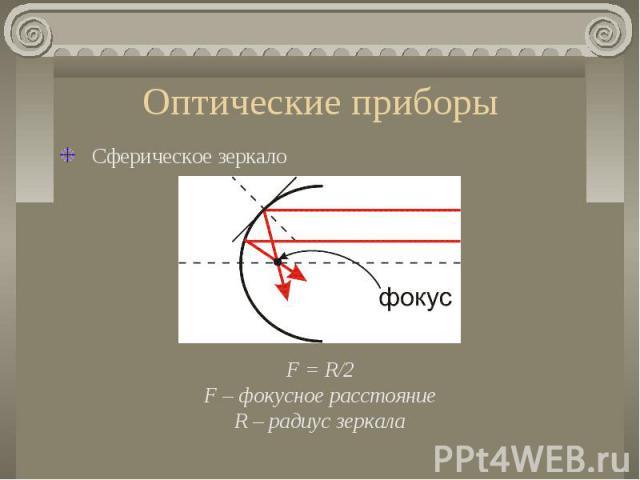 Оптические приборы Сферическое зеркалоF = R/2F – фокусное расстояниеR – радиус зеркала