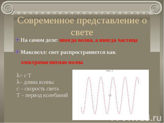 Современное представление о свете На самом деле: иногда волна, а иногда частица Максвелл: свет распространяется как электромагнитная волна= c T- длина волныс – скорость светаT – период колебаний