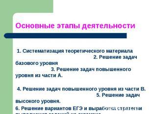 Основные этапы деятельности 1. Систематизация теоретического материала 2. Решени