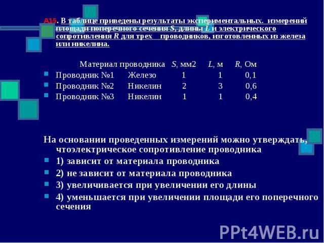 А15. В таблице приведены результаты экспериментальных. измерений площади поперечного сечения S, длины L и электрического сопротивления R для трех проводников, изготовленных из железа или никелина. Материал проводника S, мм2 L, м R, ОмПроводник №1 Же…
