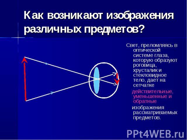 Как возникают изображения различных предметов? Свет, преломляясь в оптической системе глаза, которую образуют роговица, хрусталик и стекловидное тело, дает на сетчатке действительные, уменьшенные и обратные изображения рассматриваемых предметов.
