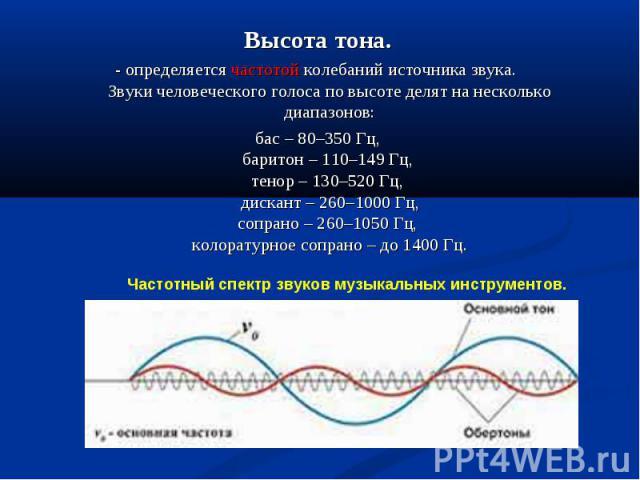 Высота тона.- определяется частотой колебаний источника звука. Звуки человеческого голоса по высоте делят на несколько диапазонов:бас – 80–350 Гц,баритон – 110–149 Гц, тенор – 130–520 Гц, дискант – 260–1000 Гц,сопрано – 260–1050 Гц, колоратурное соп…