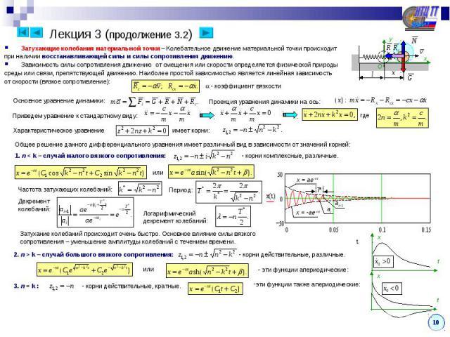 Лекция 3 (продолжение 3.2) Затухающие колебания материальной точки – Колебательное движение материальной точки происходитпри наличии восстанавливающей силы и силы сопротивления движению.Зависимость силы сопротивления движению от смещения или скорост…
