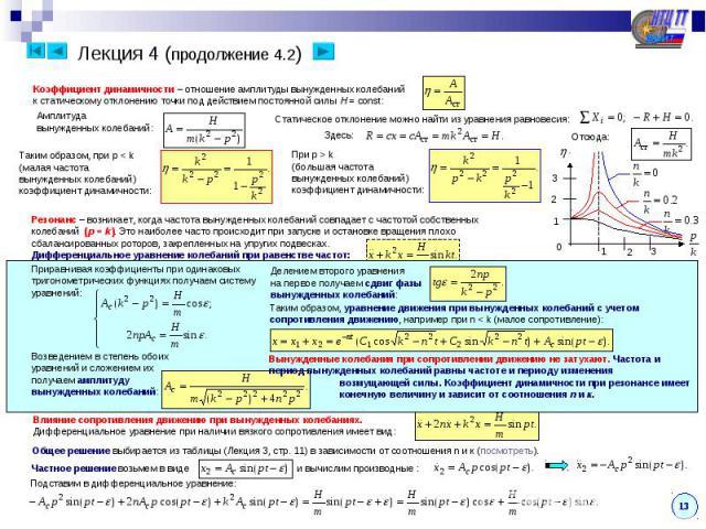 Лекция 4 (продолжение 4.2) Коэффициент динамичности – отношение амплитуды вынужденных колебанийк статическому отклонению точки под действием постоянной силы H = const:Резонанс – возникает, когда частота вынужденных колебаний совпадает с частотой соб…