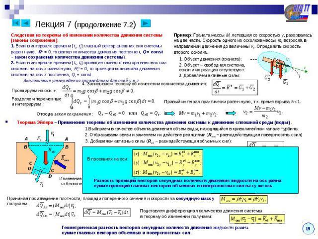 Лекция 7 (продолжение 7.2) Следствия из теоремы об изменении количества движения системы(законы сохранения):1. Если в интервале времени [t1, t2] главный вектор внешних сил системыравен нулю, Re = 0, то вектор количества движения постоянен, Q = const…