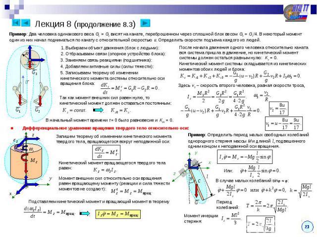 Лекция 8 (продолжение 8.3) Пример: Два человека одинакового веса G1 = G2 висят на канате, переброшенном через сплошной блок весом G3 = G1/4. В некоторый момент один из них начал подниматься по канату с относительной скоростью u. Определить скорости …