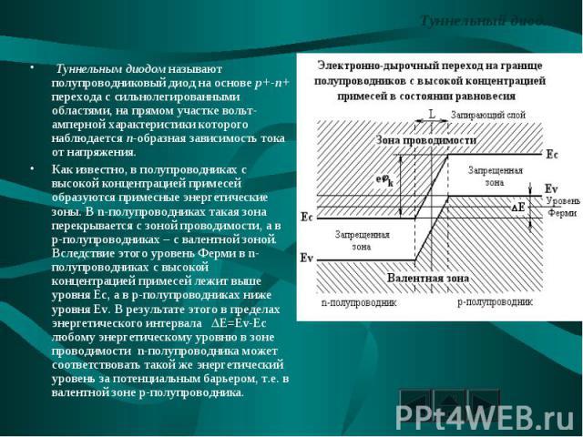 Туннельный диод. Туннельным диодом называют полупроводниковый диод на основе p+-n+ перехода с сильнолегированными областями, на прямом участке вольт-амперной характеристики которого наблюдается n-образная зависимость тока от напряжения.Как известно,…