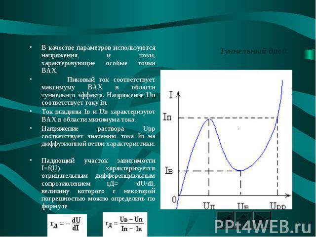 Туннельный диод. В качестве параметров используются напряжения и токи, характеризующие особые точки ВАХ. Пиковый ток соответствует максимуму ВАХ в области туннельнго эффекта. Напряжение Uп соответствует току Iп. Ток впадины Iв и Uв характеризуют ВАХ…