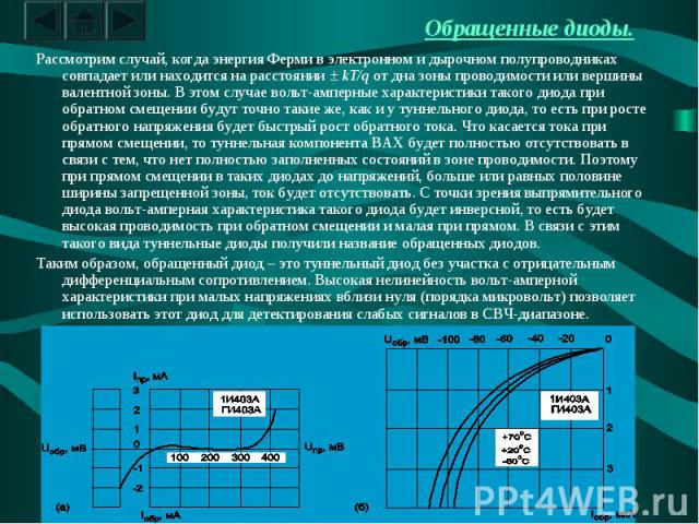 Обращенные диоды. Рассмотрим случай, когда энергия Ферми в электронном и дырочном полупроводниках совпадает или находится на расстоянии ± kT/q от дна зоны проводимости или вершины валентной зоны. В этом случае вольт-амперные характеристики такого ди…