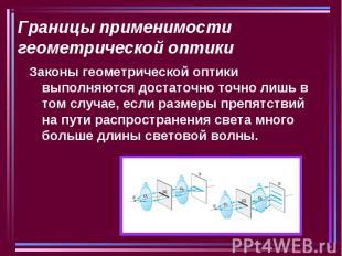 Границы применимости геометрической оптики Законы геометрической оптики выполняю