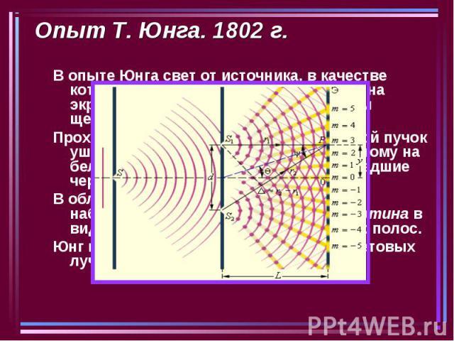 Опыт Т. Юнга. 1802 г. В опыте Юнга свет от источника, в качестве которого служила узкая щель S, падал на экран с двумя близко расположенными щелями S1 и S2. Проходя через каждую из щелей, световой пучок уширялся вследствие дифракции, поэтому на бело…