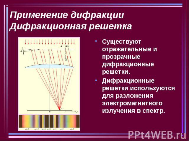 Применение дифракцииДифракционная решетка Существуют отражательные и прозрачные дифракционные решетки.Дифракционные решетки используются для разложения электромагнитного излучения в спектр.