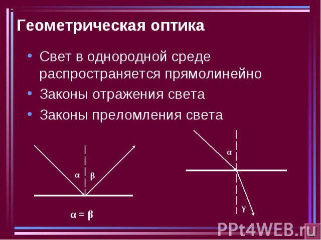 Геометрическая оптика Свет в однородной среде распространяется прямолинейноЗаконы отражения светаЗаконы преломления света