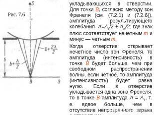 укладывающихся в отверстии. Для точки В, согласно методу зон Френеля (см. (7.2.1