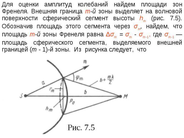 Для оценки амплитуд колебаний найдем площади зон Френеля. Внешняя граница т-й зоны выделяет на волновой поверхности сферический сегмент высоты hm (рис. 7.5). Обозначив площадь этого сегмента через σm, найдем, что площадь т-й зоны Френеля равна Δσт =…