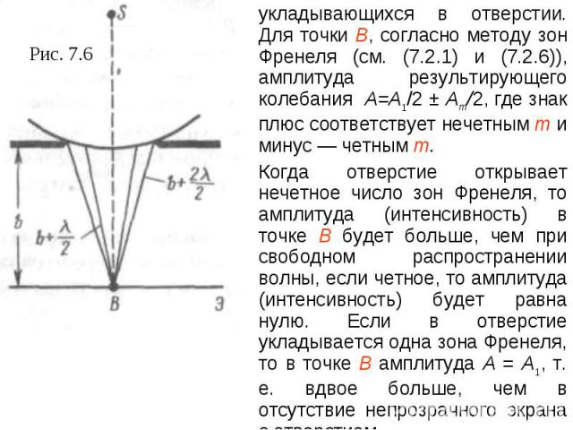 укладывающихся в отверстии. Для точки В, согласно методу зон Френеля (см. (7.2.1) и (7.2.6)), амплитуда результирующего колебания A=A1/2 ± Am/2, где знак плюс соответствует нечетным т и минус — четным т.Когда отверстие открывает нечетное число зон Ф…