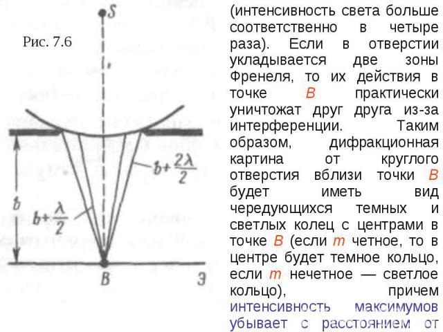 (интенсивность света больше соответственно в четыре раза). Если в отверстии укладывается две зоны Френеля, то их действия в точке В практически уничтожат друг друга из-за интерференции. Таким образом, дифракционная картина от круглого отверстия вбли…