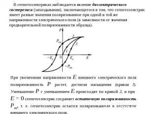 В сегнетоэлектриках наблюдается явление диэлектрического гистерезиса (запаздыван