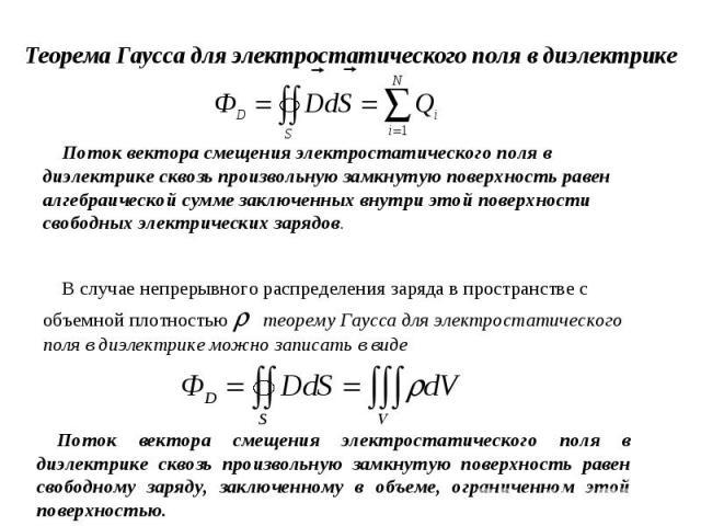 Теорема Гаусса для электростатического поля в диэлектрикеПоток вектора смещения электростатического поля в диэлектрике сквозь произвольную замкнутую поверхность равен алгебраической сумме заключенных внутри этой поверхности свободных электрических з…