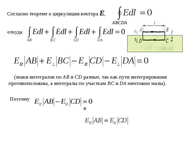 Согласно теореме о циркуляции вектора Е,откуда (знаки интегралов по АВ и CD разные, так как пути интегрирования противоположны, а интегралы по участкам ВС и DA ничтожно малы).
