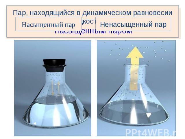 Пар, находящийся в динамическом равновесии со своей жидкостью называется насыщенным паромНасыщенный парНенасыщенный пар