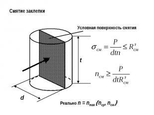 Смятие заклепкиУсловная поверхность смятияРеально n = nmaxnср, nсм